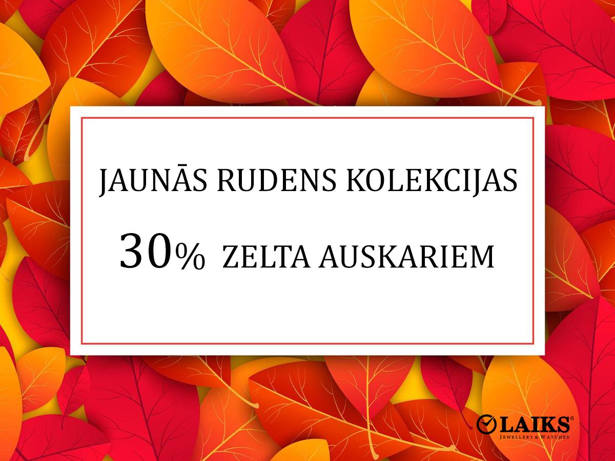 30% atlaide zelta auskariem ar cirkoniem