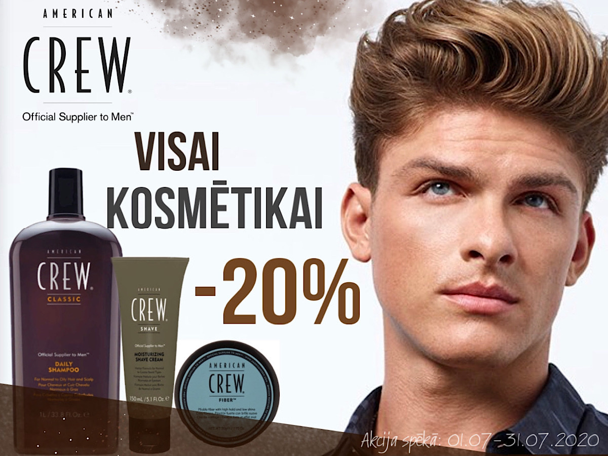 American crew - visam vīriešu  matu kopšanas un ieveidošanas produktiem atlaide -20%