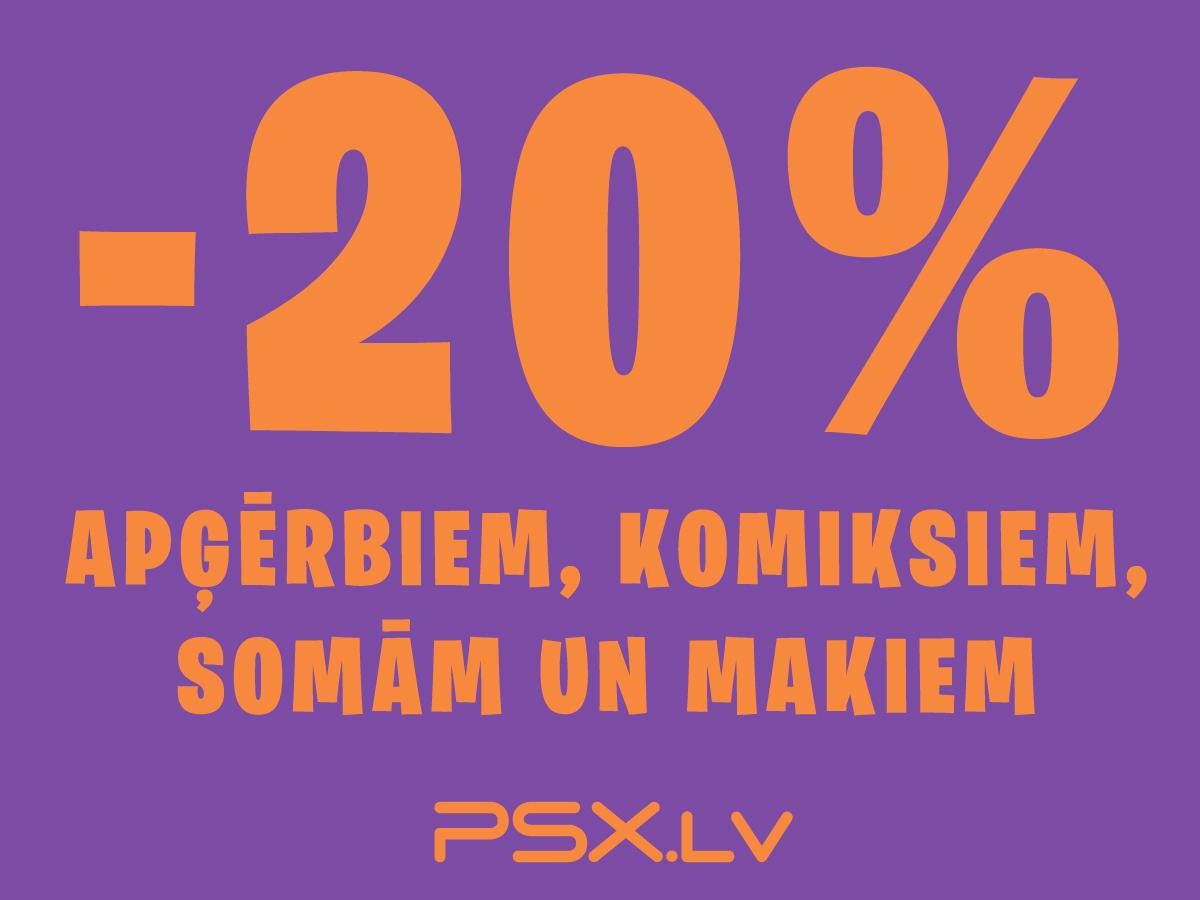 Atlaide -20% visiem apģērbiem, komiksiem, somām un naudas makiem