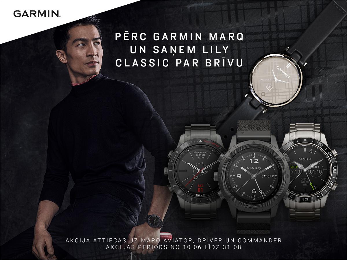 Pērc Garmin Marq pulksteni un dāvanā saņem Garmin Lily pulksteni