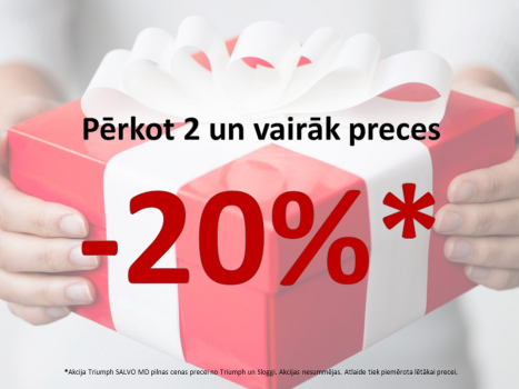 20%* atlaide pērkot divas un vairāk preces