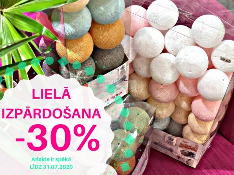 30% atlaide LED Cotton DEKORATĪVAJĀM APGAISMES BUMBIŅĀM !!!