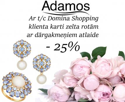 Ar t/c Domina Shopping klienta karti zelta rotām ar dārgakmeņiem atlaide – 25%