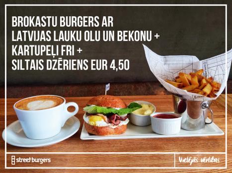 Brokastu burgers + kartupeļi FRI + karstais dzēriens = 4,50 EUR