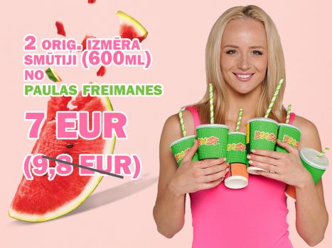 Divi oriģināla izmēra arbūza mango smūtiji no Paulas Freimanes 7 EUR (parasti 9,80 eur)