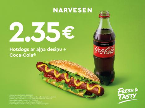 Hotdogs ar aļņa gaļas desiņu un Coca-Cola tikai par 2.35 EUR