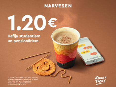 Ideāla cena kafijai studentiem un pensionāriem - tikai 1,20 EUR!
