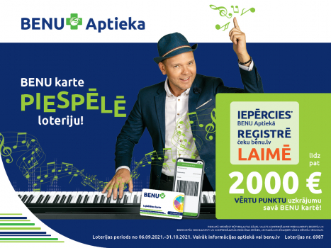 Iepērcies, izmantojot BENU karti, un laimē 2000 EUR uzkrājumu!