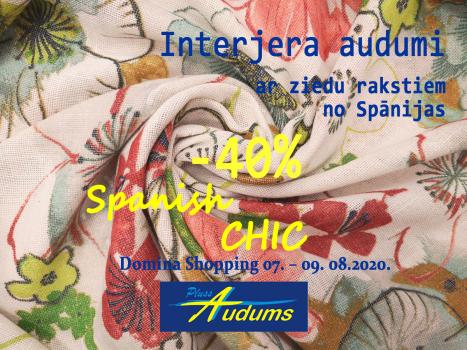Interjera audumi ar ziedu rakstiem no Spānijas ar 40% atlaidi