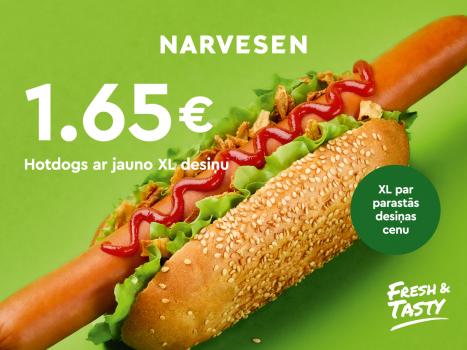 Jaunums: hotdogs ar Frankfurtes XL izmēra desiņu 1,65 EUR!
