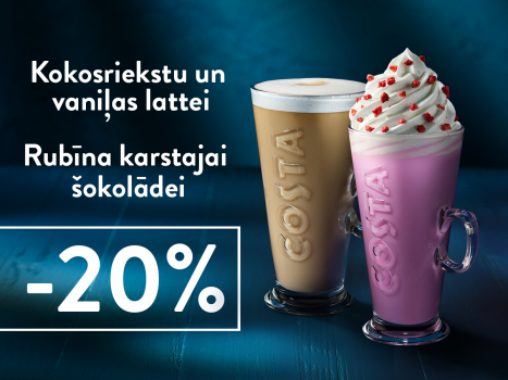 Kokosriekstu un vaniļas lattei un Rubīna karstajai šokolādei 20% atlaide