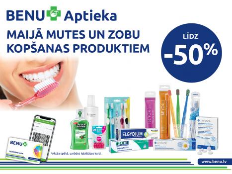 Maijā mutes un zobu kopšanas produktiem līdz 50%*