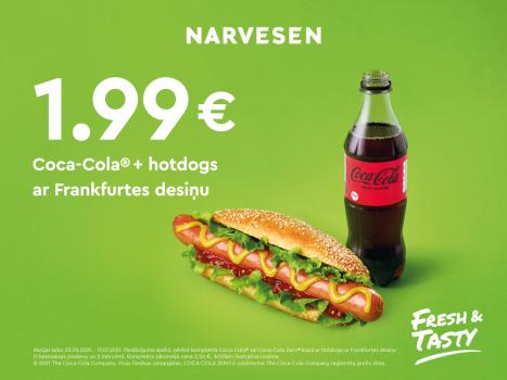 Ņem hotdogu ar Frankfurtes desiņu un Coca-Cola par 1,99 EUR!