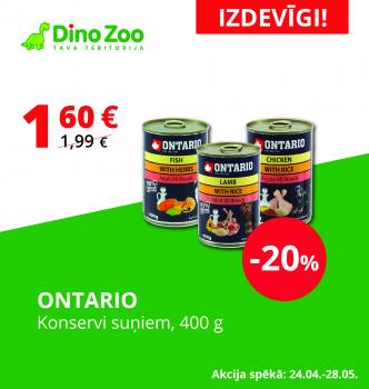 Ontario suņu konserviem īpašs piedāvājums
