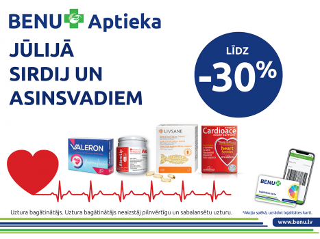 Produktiem sirdij un asinsvadiem līdz 30%*