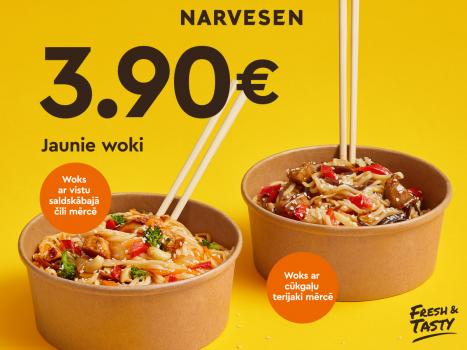 Sātīgi jaunumi Narvesen: cūkgaļas un vistas woki 3,90 €