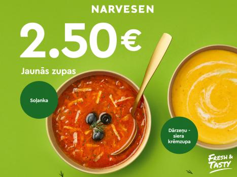 Sātīgi jaunumi Narvesen: zupas 2,50 €