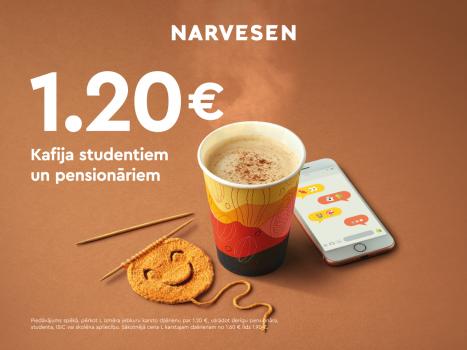 Studenti, skolēni un pensionāri par kafiju maksā tikai 1,20 EUR!