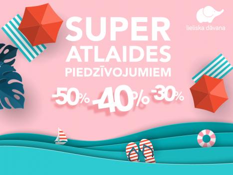 SUPER ATLAIDES līdz 50% iespaidu dāvanu kartēm!