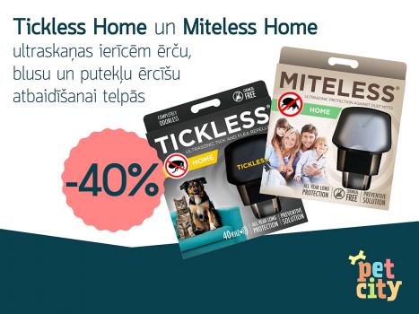 Tickless Home un Miteless Home ultraskaņas ierīcēm ērču, blusu un putekļu ērcīšu atbaidīšanai telpās  -40%