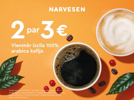 Vienmēr izcila 100% arabica kafija tagad vēl izdevīgāk! Ņem 2 par 3€