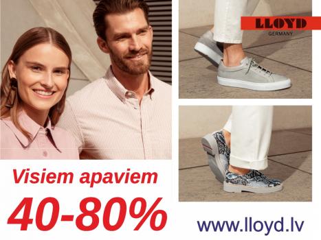 Visiem apaviem 40-80%