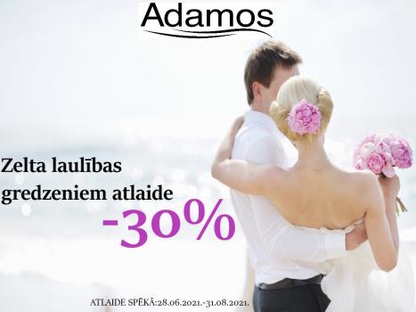 Zelta laulības gredzeniem 30% atlaide