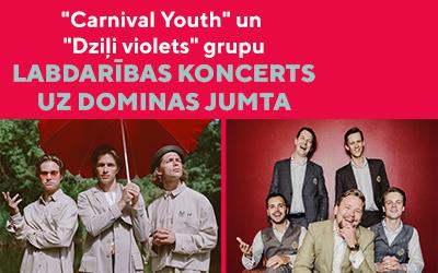 """""""Carnival Youth"""" un """"Dziļi violets"""" labdarības AUTO KONCERTS uz Dominas jumta"""